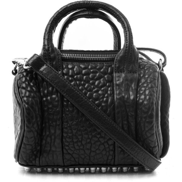 Alexander Wang Mini Black Rockie Pebbled Cult Leather Cross Body Bag (€675) ❤ liked on Polyvore