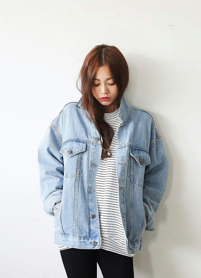 Korean Fashion Denim Stripes Top Casual Kstyle Kfashion My Style My Fashion