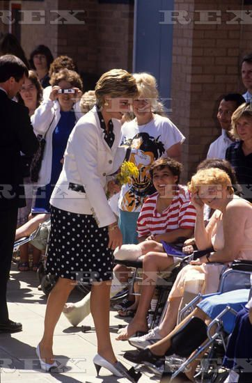 July 24, 1990 Princess Diana visits the Royal National Orthopaedic Hospital in Stanmore, in the London borough of Harrow.