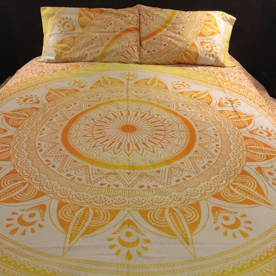 Yellow ombre mandala tapestry duvet cover and pillowcases, bohemian comforter cover, roundie mandala doona cover, boho quilt cover