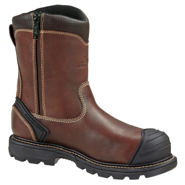 Thorogood Mens Genflex Brown Leather Boots Wellington Zip Safety Toe