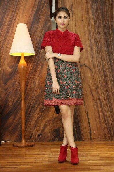 Dress cheongsam kombinasi brukat