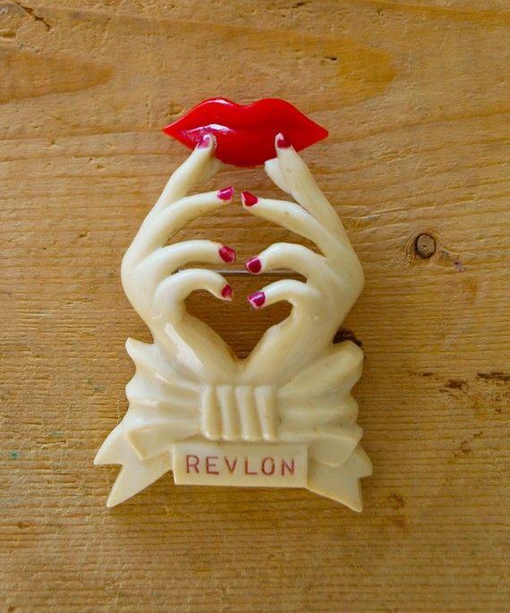 vintage revlon cosmetics advertising pin