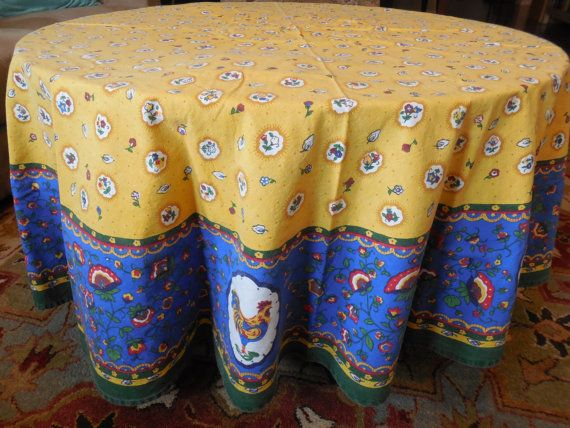 Charming Tablecloth French Country Vintage Roosters By BeautyFromThePast