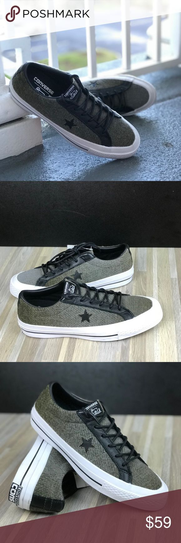 Converse&Woolrich One Star OX JUTE W AUTHENTIC Brand new with no lid box. Price is firm! No trades. The Converse x Woolrich One Star brings together two American icons with a woolen upper cast in the unmistakable One Star silhouette. Woolen fabric upper for warmth Rubber outsole for traction Converse Shoes Sneakers