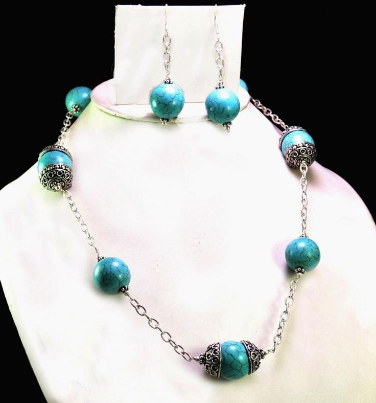 471ct Natural Semi Precious Blue Turquoise Designer Beads Necklace with Earrings #Handmade #Choker