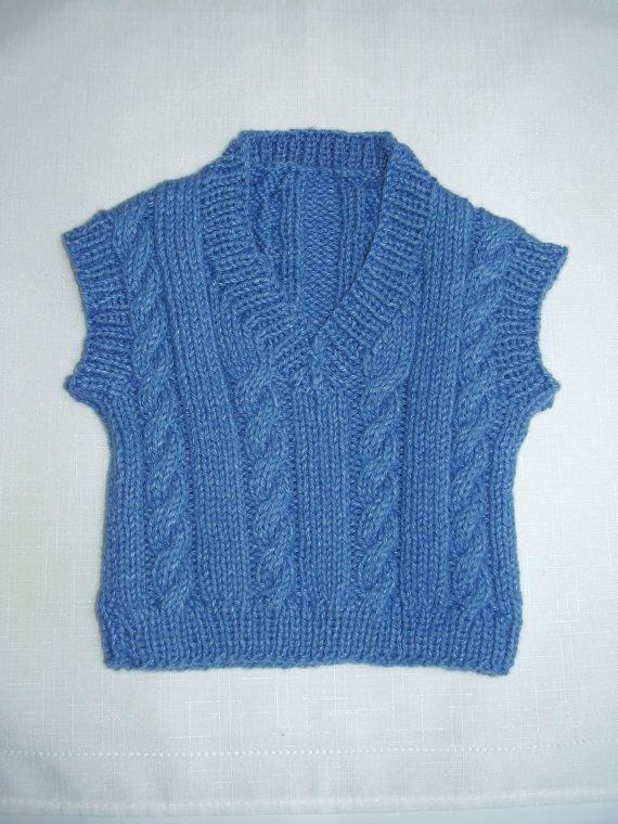 Denim Blue Cabled Baby Vest 0  6 month by DreamerLane on Etsy, $26.00