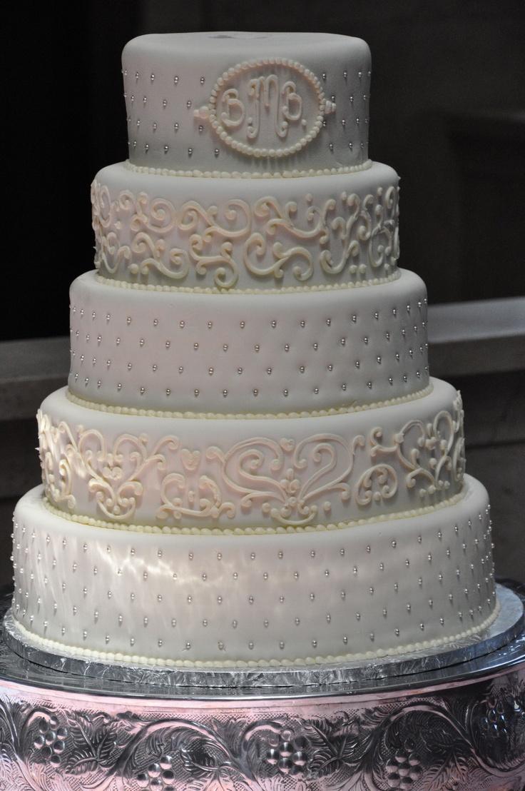 Weddingcake White Elegant Five Tier Wedding Cake