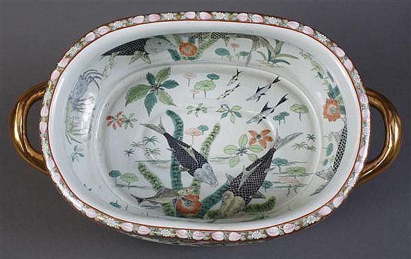 Chinese Porcelain Foot Bath Painted And Gilt Chinese