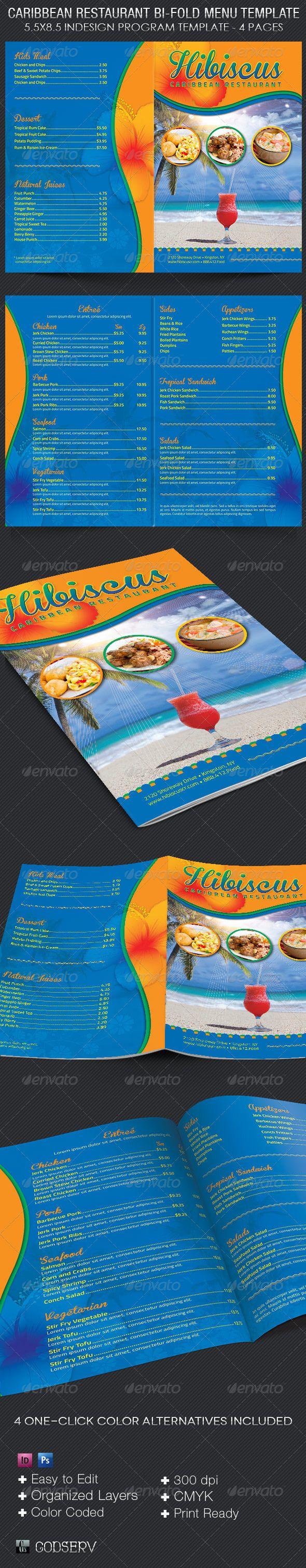 Caribbean Restaurant Bi-fold Menu Template #design #speisekarte Download: http://graphicriver.net/item/caribbean-restaurant-bifold-menu-template/8089519?ref=ksioks