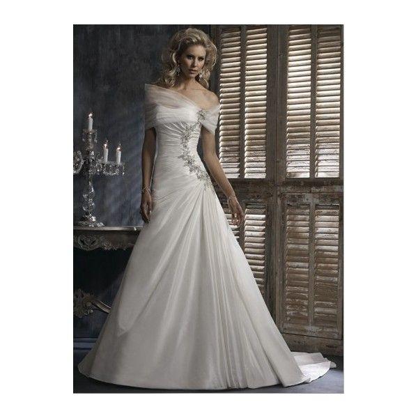 Princess Off-The-Shoulder Beading Embroidery Satin Taffeta Wedding Dress
