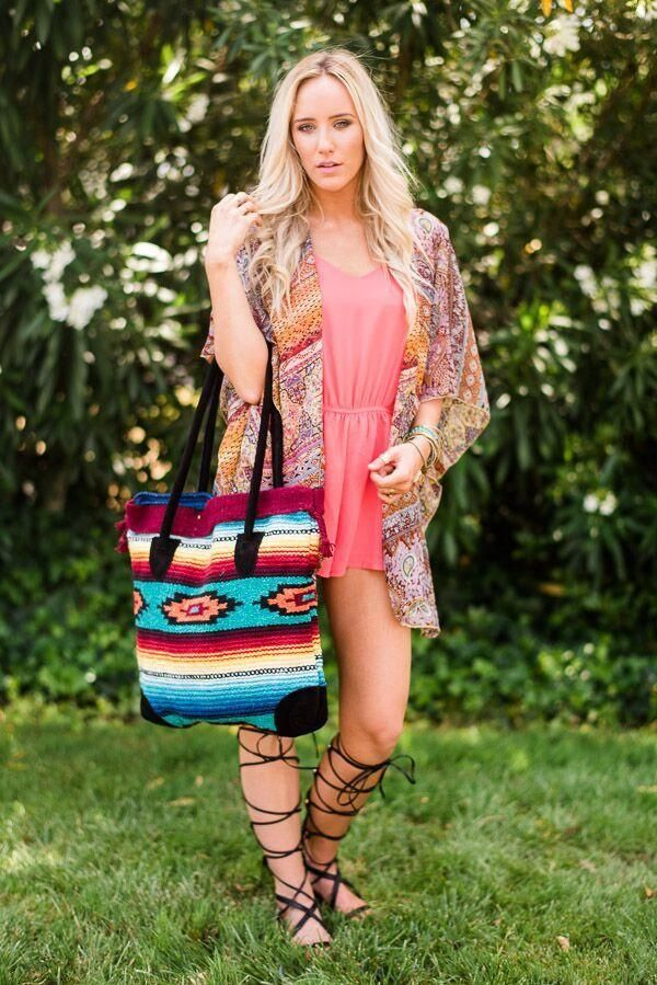 Outfit Ideas for Southwestern Blanket Leather Purses showing Bohemian Style fro Three Bird Nest