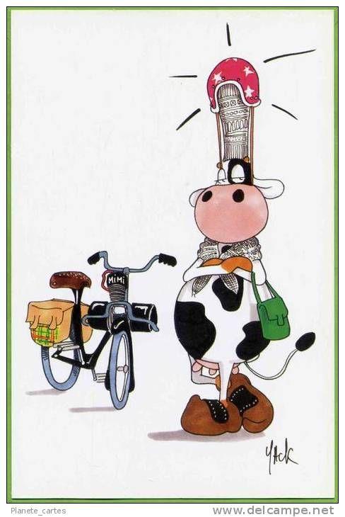 "Vache "" Bigouden "" et Vélosolex ... (dessin de Yack)"