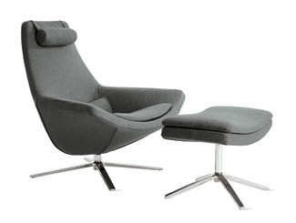Metropolitan Chair and Ottoman in Charcoal.  Designed by Jeffery Bernett for B&B Italia.  DWR. $5588.00 for Chair & Ottoman