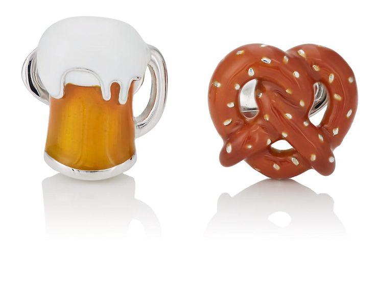 JAN LESLIE PRETZEL & BEER CUFFLINKS. #janleslie #