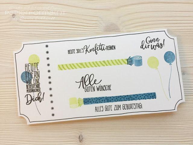 #papierformart - Geburtstags-Ticket - Geburtstagskarte mit dem Stempelset Perfekter Geburtstag Stampin' Up!