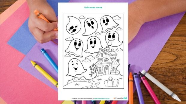Free printable colouring in sheet http://www.essentialkids.com.au/activities/seasons/halloween/halloween-ghosts-colouring-page-20151016-gkaw4s