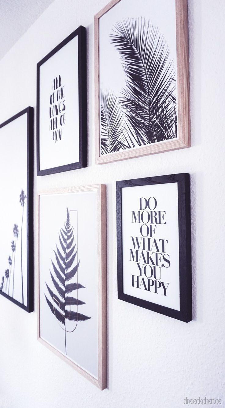 Wohnzimmer Inspiration: Neue Botanical Gallery Wall in Schwarz-Weiß // Werbung
