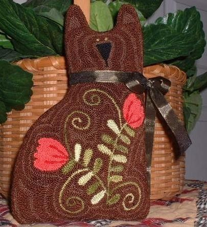 Primitive Needle Punch PATTERN Tulip Kitty