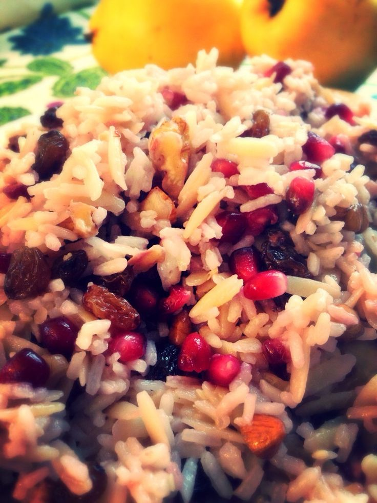 A great combination of rice, orzo, nuts & pomegranate! A classic new year's dish from my mum for good luck to all of us! Happy 2015!