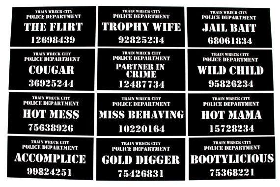 Bachelorette Party Mug Shot Signs  12 Pc Photo by PAPERandPANCAKES