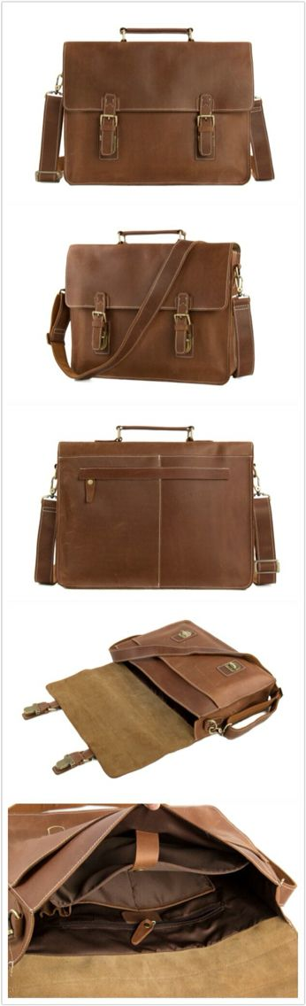 VINTAGE BROWN LEATHER BRIEFCASE, MEN MESSENGER BAG, LAPTOP BAG