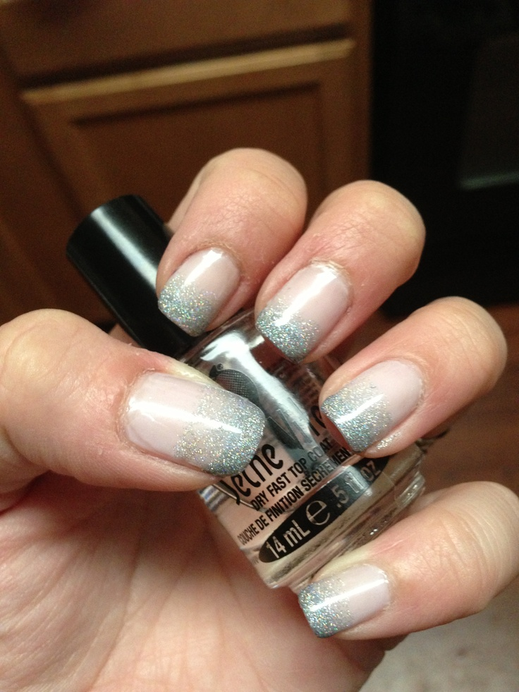 Gradient French Manicure: Glitter Gradient French Manicure