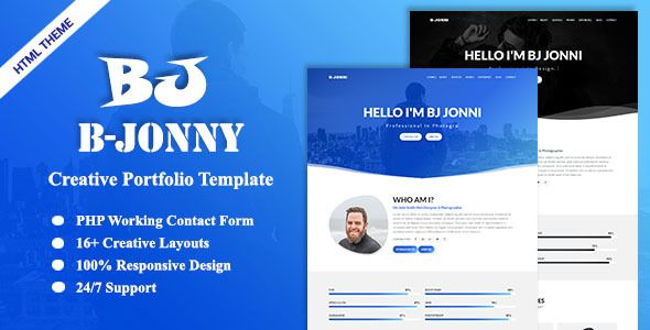 B-Jonni-Personal Portfolio Template Personal Pinterest