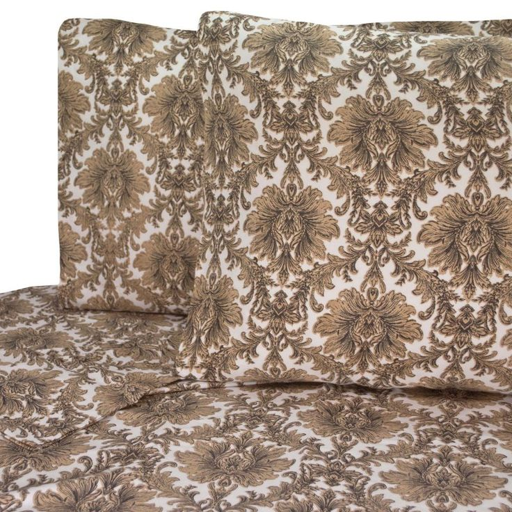 Italia Toile Damask Printed Cotton Sheet Set by V1969 Black/Gold - SS1602BGKG-4700