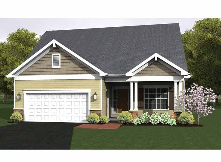 2 Bedroom Home new american house plan with 1368 square feet and 2 bedrooms from