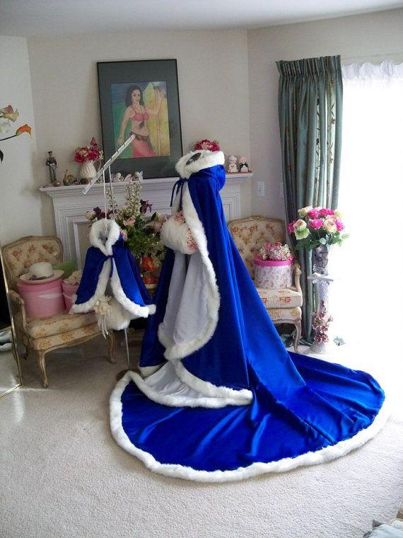 Princess Frozen 18-inch Cobalt Blue / White Satin Flower Girl Cape Wedding Cloak with fur trim Handmade in USA