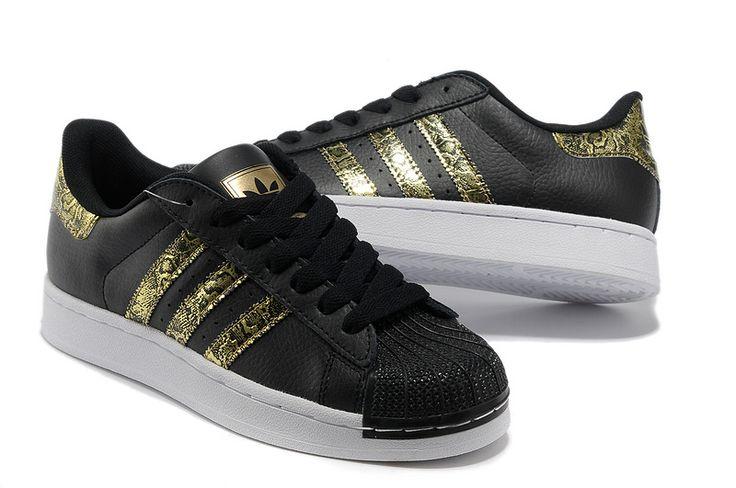 Mænds / Kvinder Adidas Originals Superstar 2 Bling Afslappet Sko Sort Guld G62844