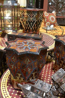 Marvelous Painted Star Tables From Morocco On Zellij Table Tops