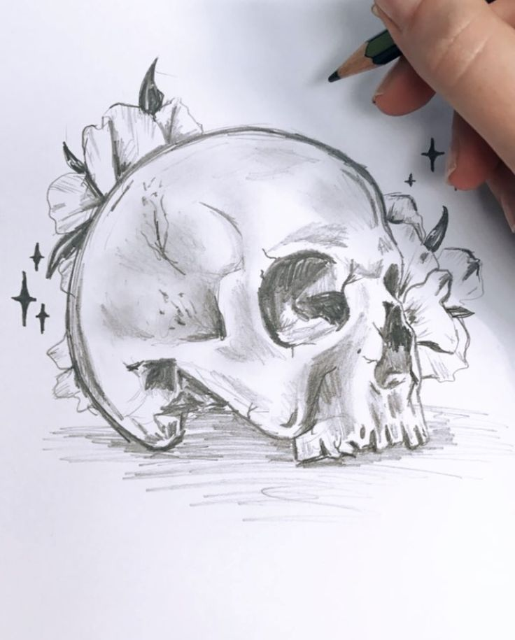 Skull and flowers rough sketch before final art - By Hayley O'Connor