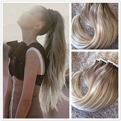 Moresoo 22 inch 20pcs/50g Dip-dye Color Ash Brown to Bleach Blonde(#613) 100% Straight Remy Human Hair Two Tone Colored Ombre Seamless Skin Weft Glue In Hair Extensions