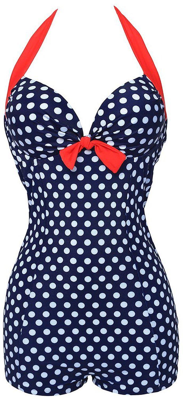 6.99 Bettydom Plus Size Boyleg Polka Dot One Piece Swimsuit Bowknot Swimwear Monokinis for Ladies M-3XL: Amazon.co.uk: Clothing