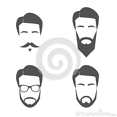 Mustache And Beard Face Logos by Mike Taylor, via Dreamstime
