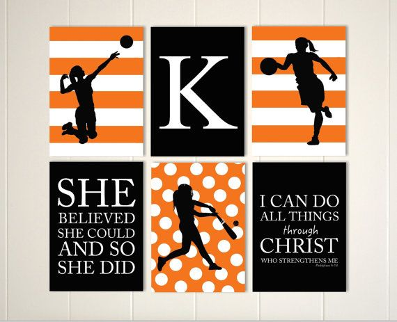 Softball wall art, volleyball girl art, basketball girl wall art, teen girl wall art, gift for girl, choose your sports and colors, set of 6 by PicabooArtStudio on Etsy