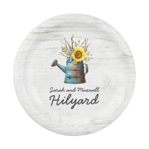Sunflower & Rustic Wood Farm Country Wedding Paper Plate