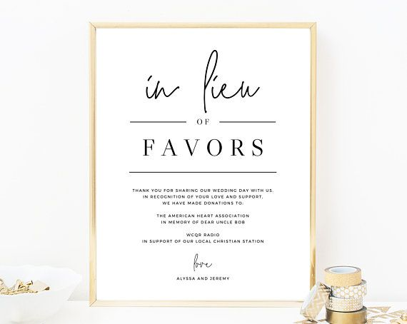 In Lieu Of Favors Sign Template Printable In Lieu Of Favors Etsy Wedding Donations Donation Wedding Favors Favors Sign