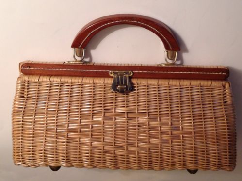 Vintage Purse Handbag 1960s Wicker Straw Woven Hand Made Wood Handle Kelly