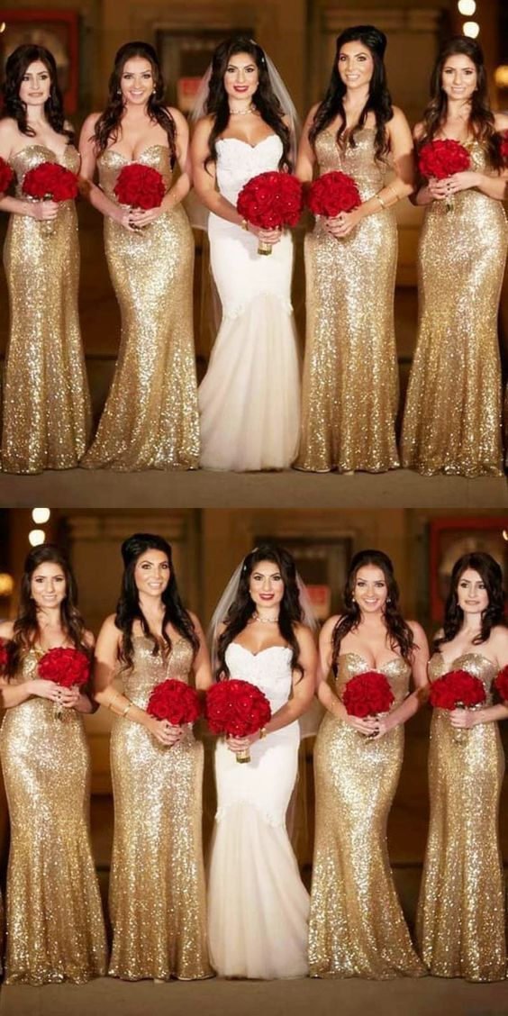 Mermaid Sweetheart Sweep Train Gold Sequin Bridesmaid Dress in 2019 ... a3fd879d09f3