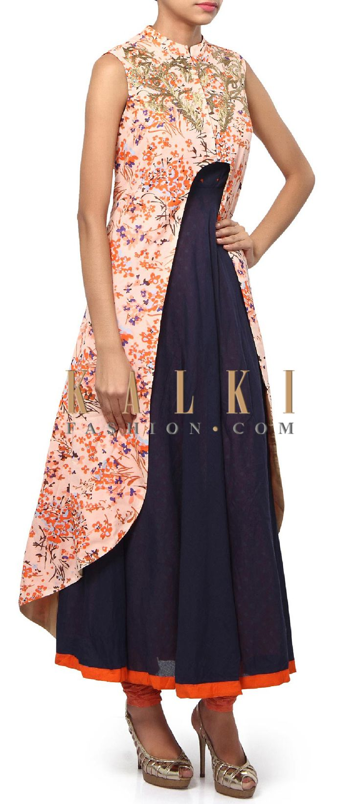Buy Online from the link below. We ship worldwide (Free Shipping over US$100). Product SKU - 311304.Product Link - http://www.kalkifashion.com/navy-blue-anarkali-suit-matched-with-long-printed-jacket-only-on-kalki.html