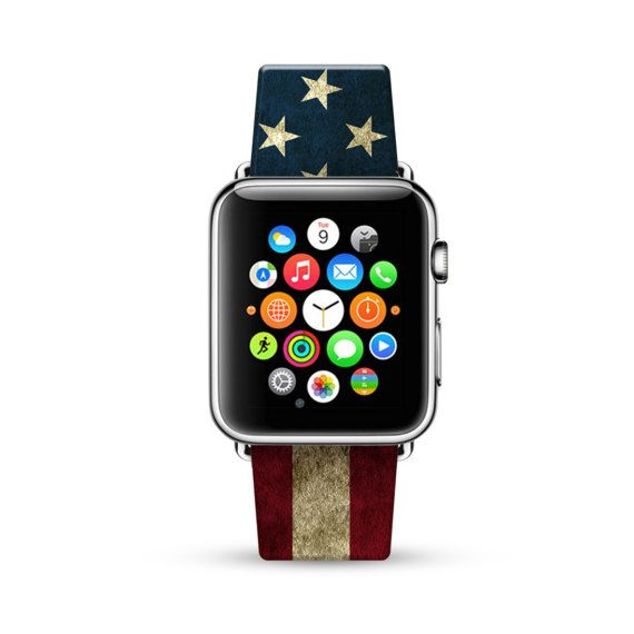 Apple Watch Band 38mm, 42mm for Series 1 Series 2, Apple Watch Strap Calf Leather Wrist Band with Metal Adapter, USA Flag United State