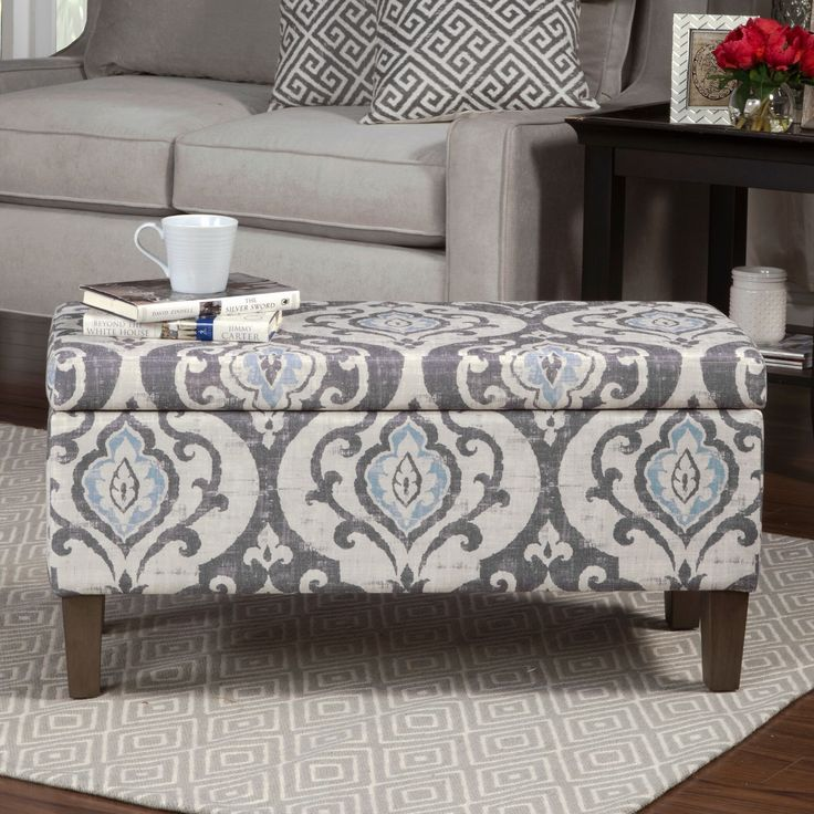 Homepop Blue Slate Damask Pattern Storage Ottoman By