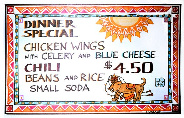 Art By-Products: Mexican Restaurant Menu Buffalo Wings