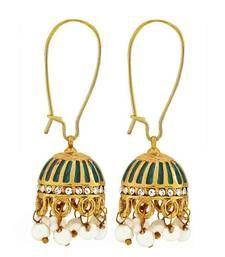 Buy Antique Indian Jewelry Trendy Pearl Dangler Earrings Blue Goldd danglers-drop online