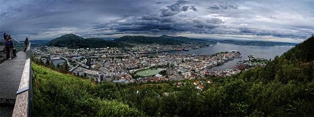 Bergen, vista panoramica desde el monte Fløyen