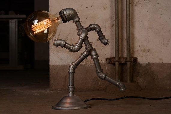 EBE Industrial diseñador de iluminación, funcionamiento a hombre - Steampunk mesa lámpara Edison Vintage luz agua tubo lámpara de cabecera rústica lámpara