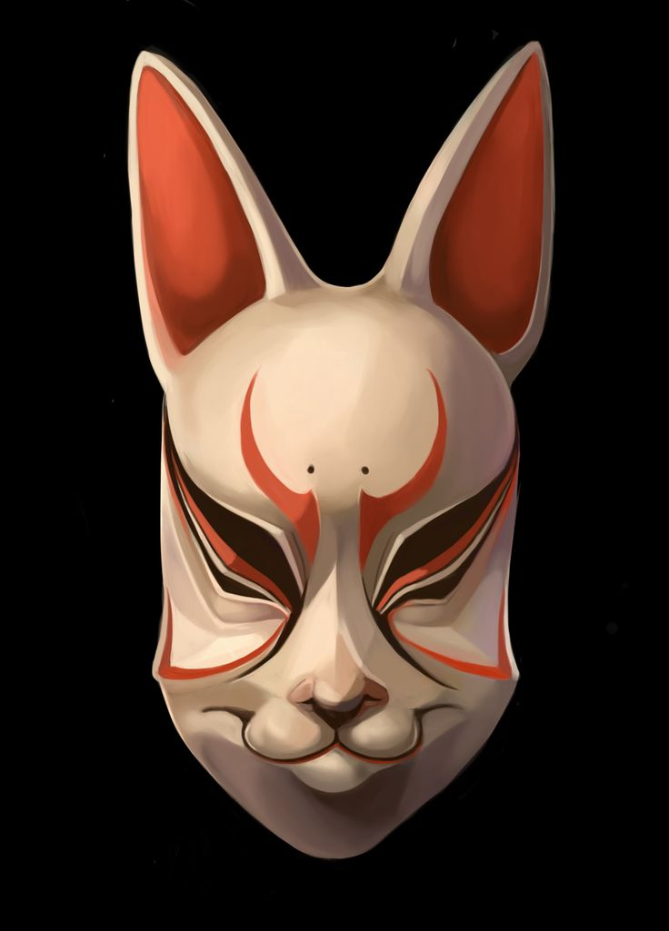 traditional japanese masks | Kitsune Noh Mask by ...